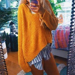 Sweaters - chenille mustard yellow eclectic gemini sweater